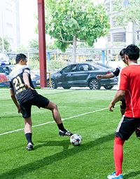 Game of futsal at Playcon / Golazo Futsal Singapore